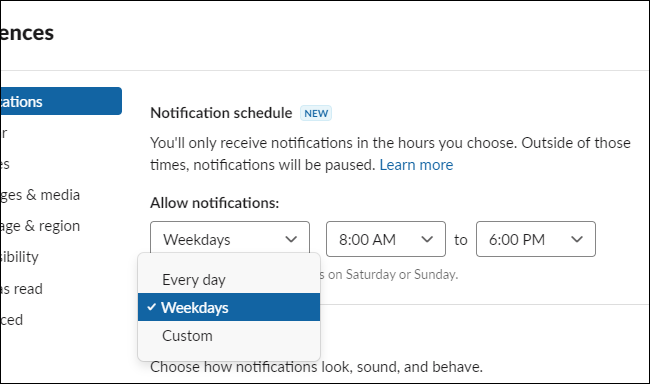 Setting Slack not to show notifications on the weekend.