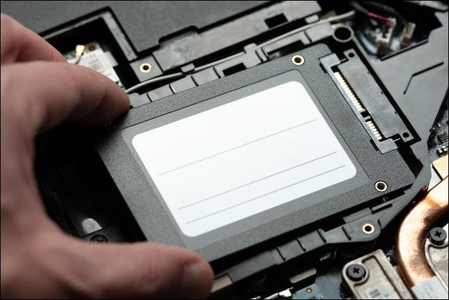 A solid-state drive inside a laptop PC.