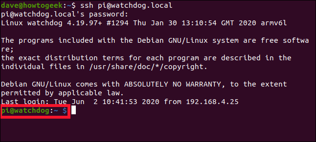 An SSH connection to a Raspberry Pi in a terminal window.