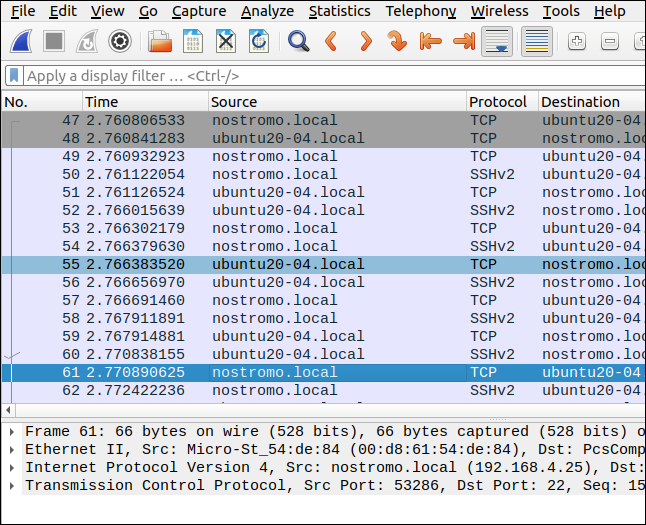 Wireshark showing an SSH connection between two computers.