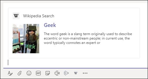 เพิ่มผลการค้นหา Wikipedia ในการแชท