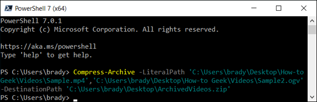 Zip up a few files in PowerShell.
