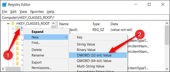 Haga clic con el botón derecho en la clave y elija Nuevo> Valor DWORD (32 bits).  Nombre el DWORD DefaultDropBehavior.