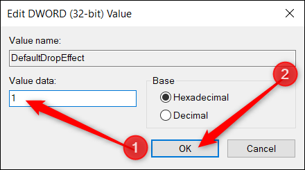 """Set the Value Data box to """"1"""" and click """"OK."""""""