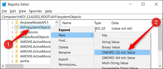 Right-click the key and choose New > DWORD (32-bit) Value. Name the DWORD DefaultDropBehavior.