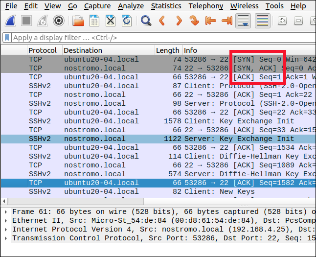 Wireshark showing the three-way handshake packets.