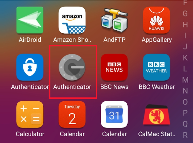Google Authenticator App icon on an Android cell phone.