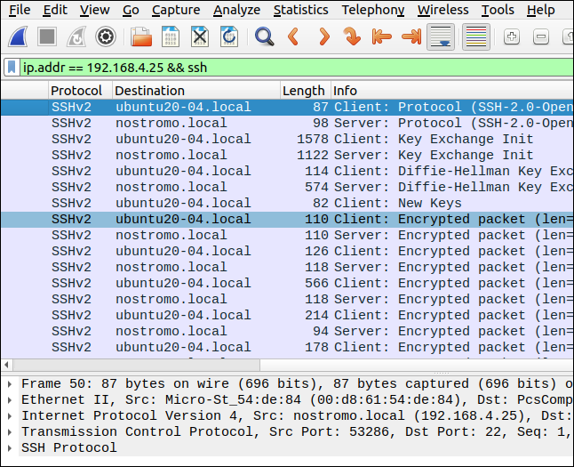 Wireshark with a filter of ip.addr == 192.168.4.25 && ssh.