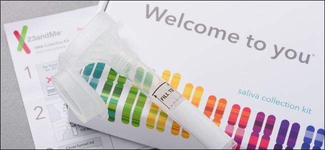 A 23andMe saliva collection kit.