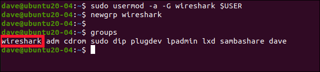 sudo usermod -a -G wireshark $USER in a terminal window.