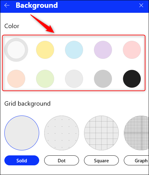 The background color options.