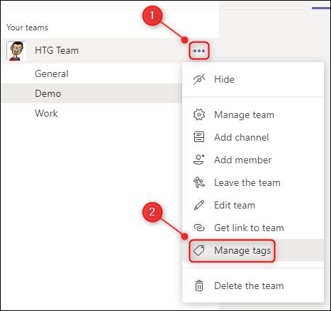 """The """"Manage tags"""" menu option."""