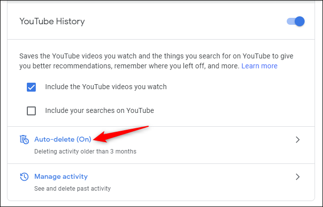 Auto-delete controls for YouTube History in a Google account.
