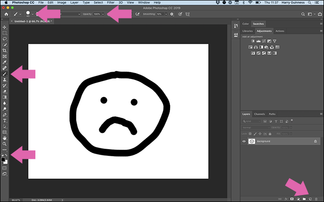 Arrows pointing out everything you have to click in the Photoshop interface just to paint a black circle.