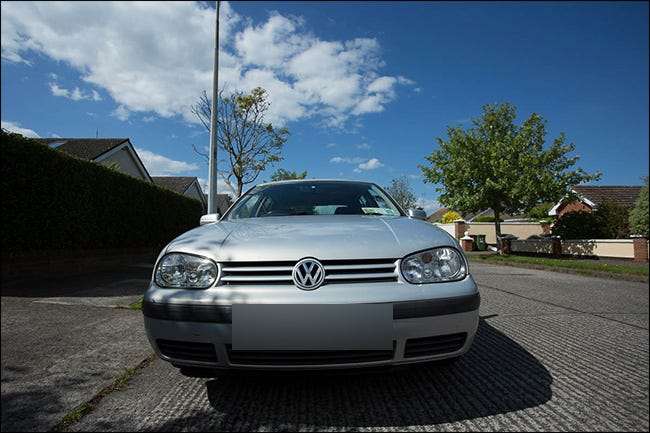 Front view of a Volkswagen vehicle taken with a wide-angle lens.