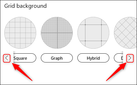 The background grid options with scroll arrows.