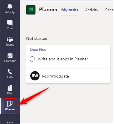 """The """"Planner"""" app in the sidebar on Teams."""