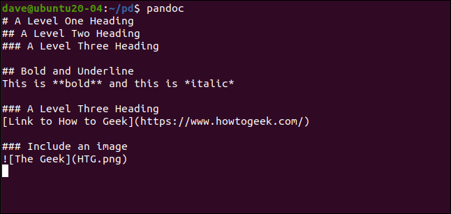 Sample lines of markdown typed into pandoc in a terminal window.