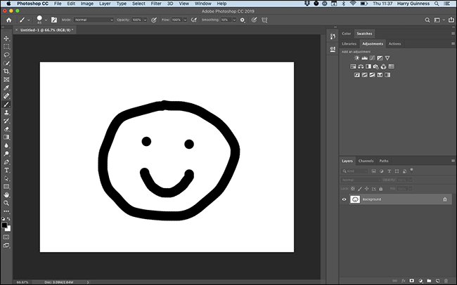 A painting of a smiley in Photoshop.