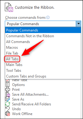 "Change ""Popular Commands"" to ""All Tabs."""