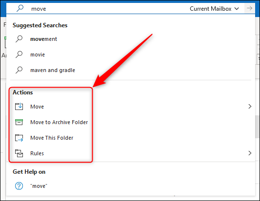 Outlook actions shown in the Search menu.