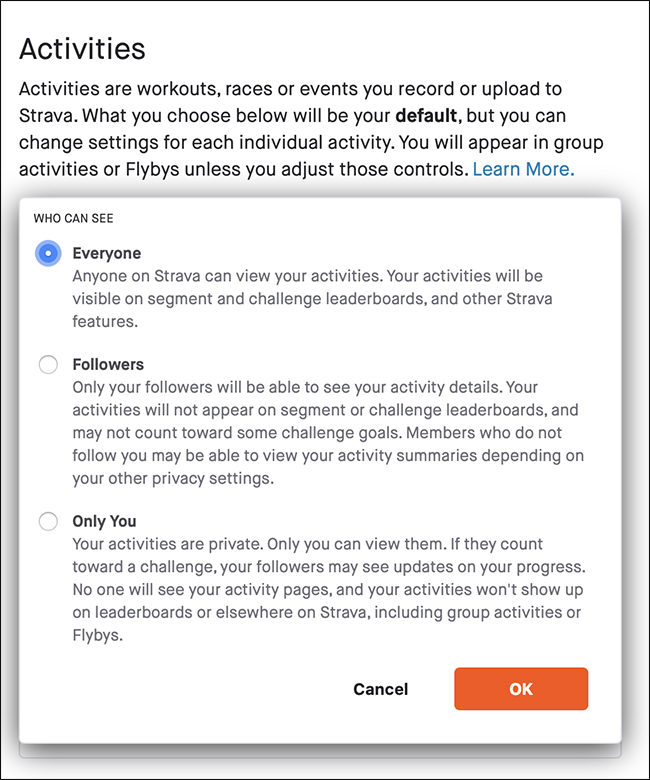 "The ""Activities"" menu on Strava."
