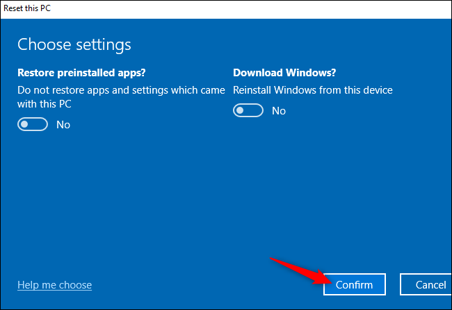 "The ""Confirm"" button for resetting a Windows 10 PC."