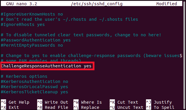 sshd_config file opened in the nano editorwith the ChallengeResponseAuthentication line highlighted, in a terminal window.
