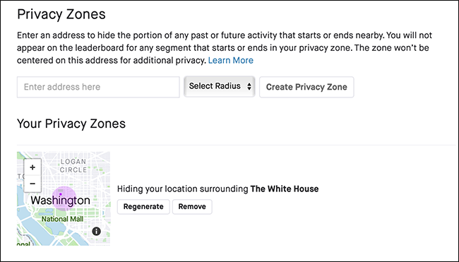 "The ""Privacy Zones"" menu in Strava."