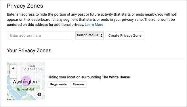"The ""Privacy Zones"" menu in Strava."