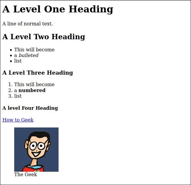 การเรนเดอร์ HTML ของไฟล์มาร์กดาวน์ sample.md ในหน้าต่างเบราว์เซอร์