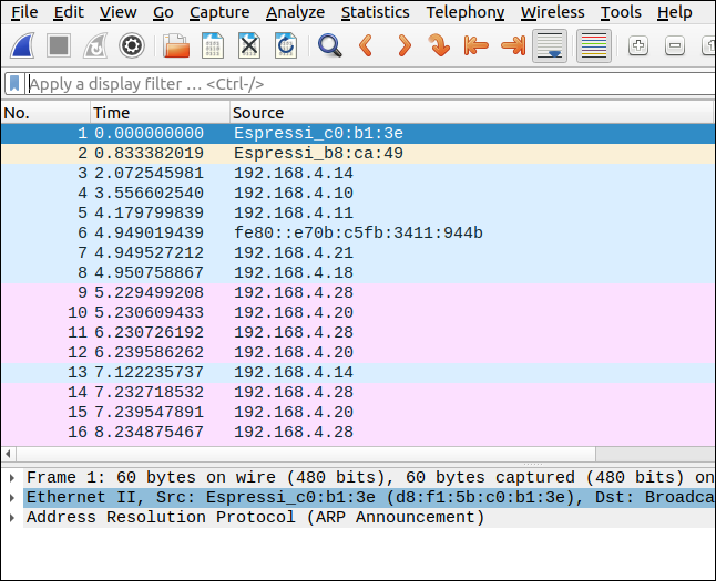 A captured trace displayed in Wireshark in time order.