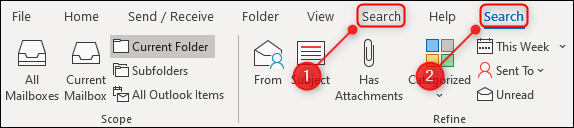 """The Outlook ribbon with two """"Search"""" tabs."""