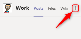 Click the plus sign (+) to add an app as a tab to a channel.