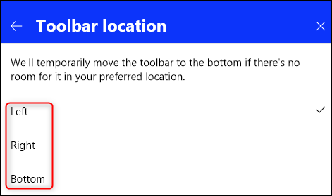 The toolbar location options.