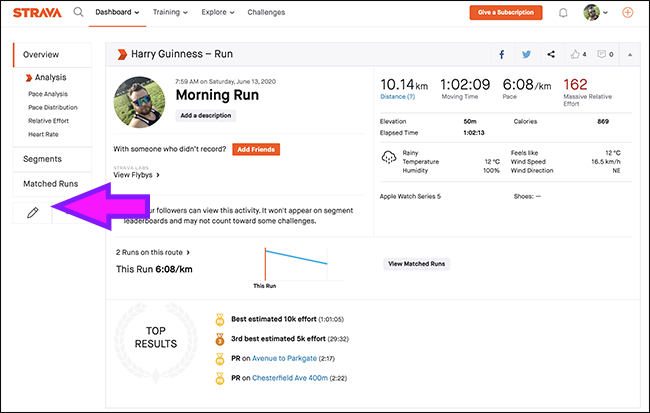 Click the Edit icon for an activity in Strava.