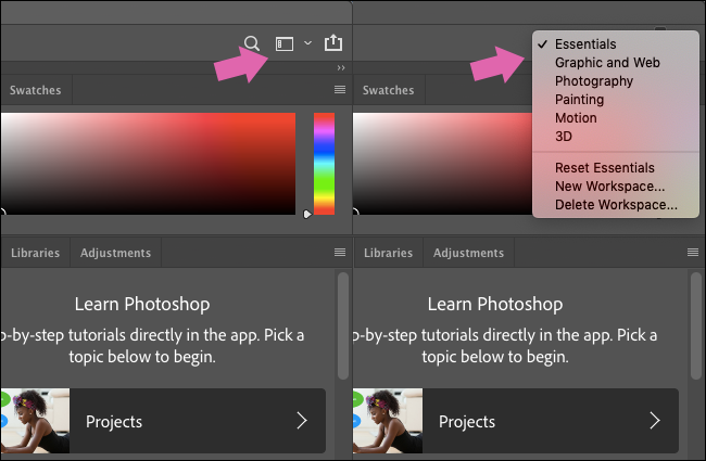 The Workspaces menu in Photoshop.