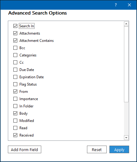 "The ""Advanced Search Options"" panel."