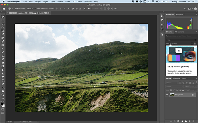 "The ""Photography"" Workspace in Photoshop."