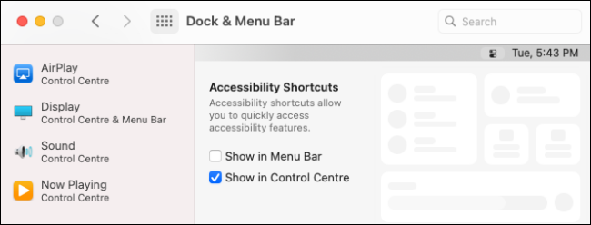 Customizing the macOS Control Center in Settings.