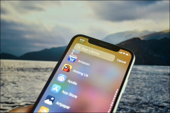 The App Library Search screen on iOS 14.