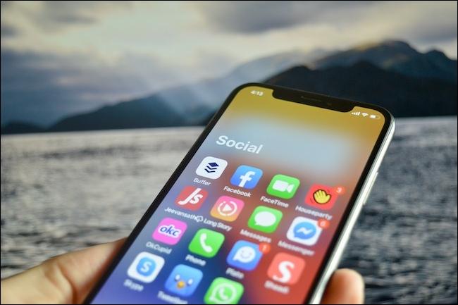 An App Library folder open in iOS 14.