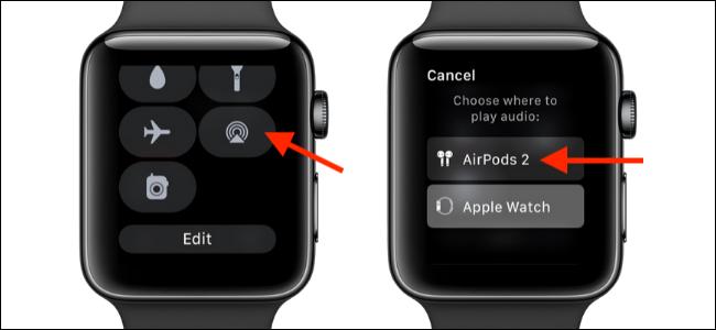 Elija la opción AirPlay en Apple Watch para cambiar a AirPods