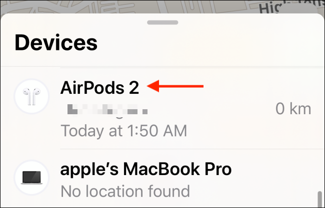 Choose AirPods from Find My app