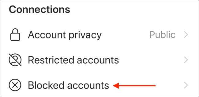 "Tap ""Blocked Accounts."""