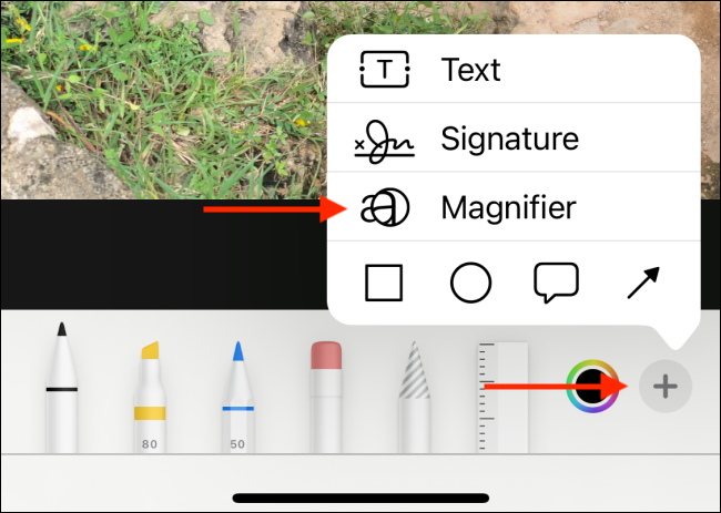 Choose Magnifier from the Plus menu in Photos app