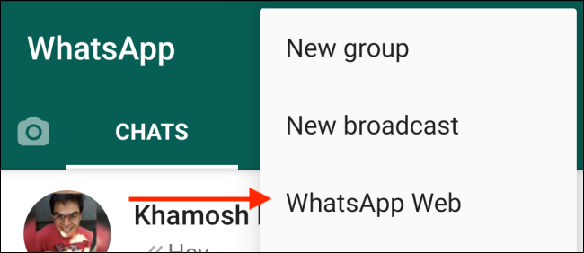 Choose WhatsApp Web from Android