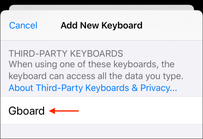 Choose the keyboard you want to add