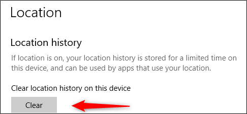 Clear location history