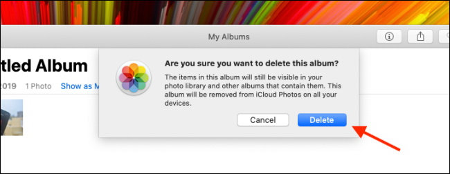 Click Delete to delete the album